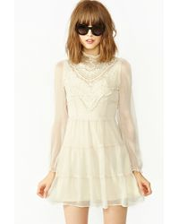 Nasty Gal Florence Crochet Dress beige - Lyst