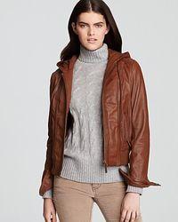 Michael Kors Kors Hooded Leather Jacket - Lyst