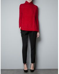 Zara Cable Knit Sweater - Lyst