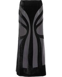 Alberta Ferretti Velvet and Chiffon Maxi Skirt black - Lyst