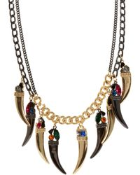 Asos Premium Jewelled Horn Necklace - Lyst