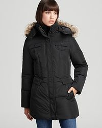 Marc New York - Short Jacket with Fur Trim Hood - Lyst