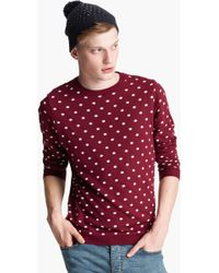 Topman Polka Dot Crewneck Sweater - Lyst