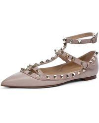 Valentino Rockstud Ballerina Flat in Powder beige - Lyst