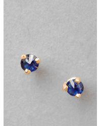 Blanca Monros Gomez - Gold Tiny Sapphire Stud Earring - Lyst