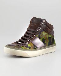 Jimmy Choo Camouflage Calf Hair Hightop Sneaker - Lyst