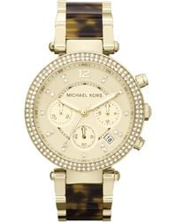 Michael Kors Midsize Golden Stainless Steel Parker Chronograph Glitz Watch - Lyst