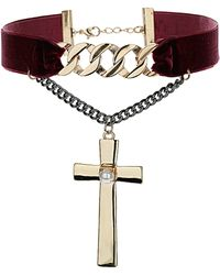 Topshop Velvet Cross Choker Necklace - Lyst