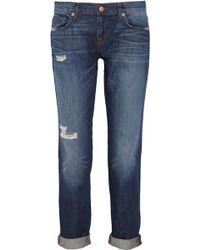 J Brand Aiden Distressed Boyfriendfit Jeans - Lyst