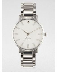 Kate Spade Gramercy Grand PavÉ Crystal & Stainless Steel Bracelet Watch silver - Lyst