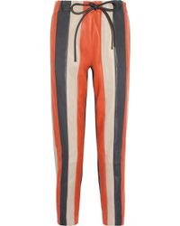 Les Chiffoniers Striped Leather Pants - Lyst