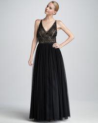 Aidan Mattox Embroideredbodice Gown - Lyst