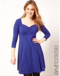 Asos Curve Skater Dress with 3/4 Sleeve - Lyst