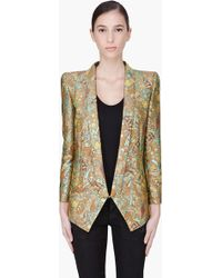 Barbara Bui Mustard Silk Embroidered Blazer - Lyst