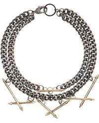 Fenton - Gunmetal Necklace with Gold Arrow Spikes - Lyst