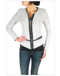 Iro Zyta Jacket with Leather Trim in Grey - Lyst