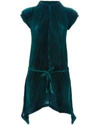 Issey Miyake Pleated Dress green - Lyst