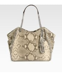 MICHAEL Michael Kors Python Embossed Chain Tote - Lyst