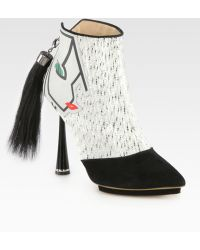 Nicholas Kirkwood Face Wool Suede Ponytaildetail Ankle Boots white - Lyst