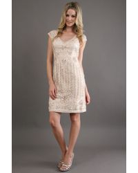 Sue Wong Seutache Embroidered Lace Dress - Lyst