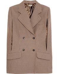 Miu Miu Houndstooth Wool Blend Cape - Lyst