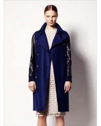 Sophie Hulme - Bluenavy Leather Sleeve Wool Trench Coat By Sophie Hulme - Lyst