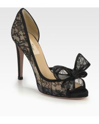 Valentino Lace Couture Bow Dorsay Pumps - Lyst