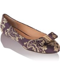 Ferragamo Flat in Satin and Lace - Lyst