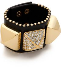 Juicy Couture - Pave Pyramid Leather Cuff - Lyst