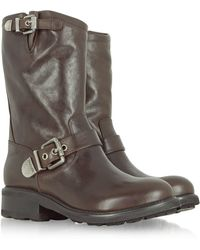 Luciano Padovan - Brown Leather Biker Boot - Lyst