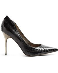 Sam Edelman Black Python Danielle Metal Stiletto Court Shoes - Lyst