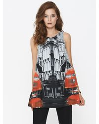 Tfnc Tfnc Printed Red Bus Vest - Lyst