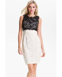 BCBGMAXAZRIA Colorblock Lace Sheath Dress - Lyst