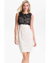 BCBGMAXAZRIA Colorblock Lace Sheath Dress white - Lyst