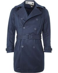 Diesel Blue Trench Coat - Lyst