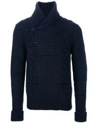 Saint Laurent Shawl Collar Sweater - Lyst