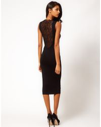 Asos Midi Dress with Lace Back Panel - Lyst