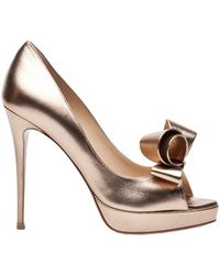 Valentino Metallic Couture Bow Pump - Lyst