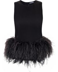 Alexander McQueen Feather trimmed Top - Lyst