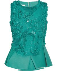 Antonio Berardi Paillette embellished Crepe Peplum Top blue - Lyst