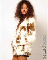 Asos Faux Fur Coat with Zip Front - Lyst
