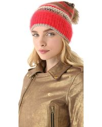 Juicy Couture - Beanie with Faux Fur Pom Pom - Lyst