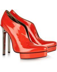 Lanvin Cutout Patentleather Ankle Boots orange - Lyst