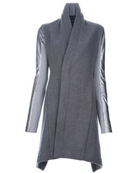 Rick Owens Jagged Shiny Sleeved Coat - Lyst