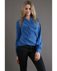 Fifteen-twenty Drape Wrap Blouse in Cobalt - Lyst