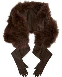Nina Ricci - Fur Shawl and Leather Gloves - Lyst
