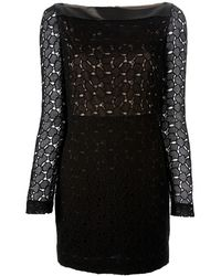 Diane Von Furstenberg Lace and Leather Dress - Lyst