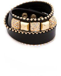 Juicy Couture - Heavy Metal Skinny Leather Wrap Bracelet - Lyst