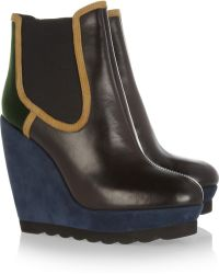 KENZO - Leather and Suede Wedge Ankle Boots - Lyst