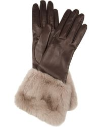Miu Miu - Rabbittrimmed Leather Gloves - Lyst